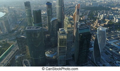 A sunset Aerial shot of skyscrapers of Moscow International Business Centre.