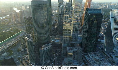 A sunset Aerial shot of skyscrapers of Moscow International Business Centre, Moscow-city.