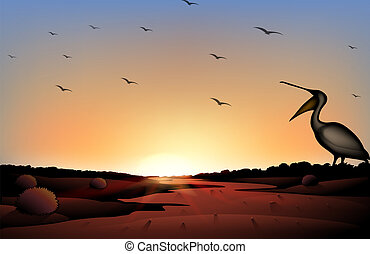 A sunset at the desert with a flock of birds