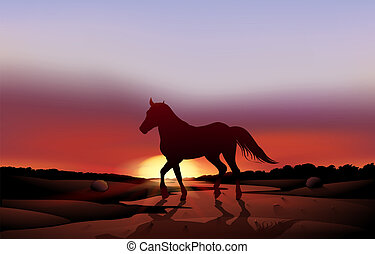 A sunset at the desert with a horse