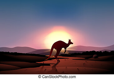 A sunset at the desert with a kangaroo