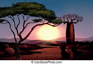 A sunset at the desert with animals - Illustration of a...