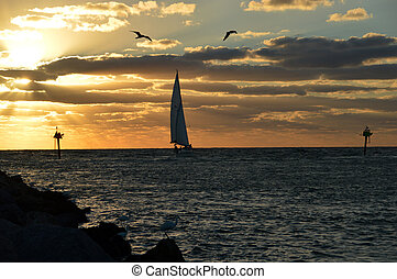A sunset sail - This is a photo of a sailboat at sunset