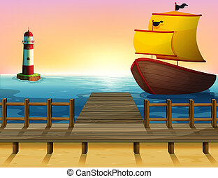 A sunset view of the port with a wooden boat - Illustration...