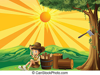 A sunset view with a boy scout