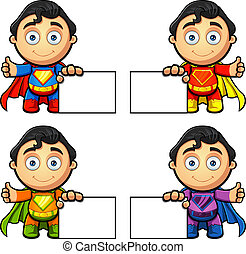 A Super Man Character - Blank Sign - A super man character...