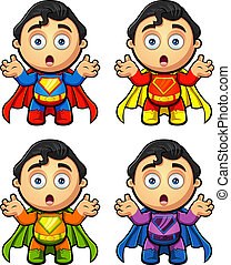 A super man character in 4 different colours. EPS-10