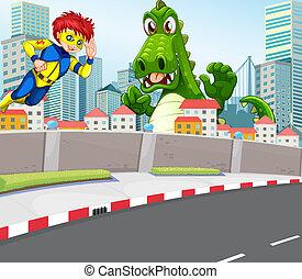 A superhero and a crocodile in the city