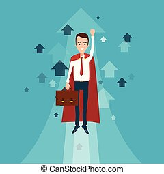 A superhero businessman with a briefcase in his hand flew up. Many arrows pointing upwards