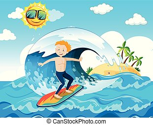 A Surfer Enjoy Surfing at the Ocean