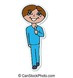 a surgeon smiling with a scalpel goes for an operation. isolated cartoon sticker vector illustration