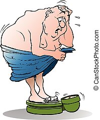 Vector cartoon illustration of a surprised fat man on a bathroom scale