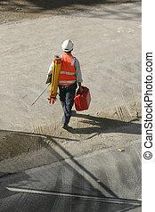 Surveyor - a surveyor going to work. Surveyors provide data ...