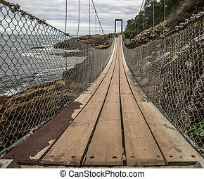 A suspension bridge with wooden floorboards and rope ropes