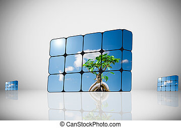 sustainable growth concept: hand and cubes