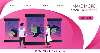 a swarm of scientists who are developing smarter humans vector illustration concept, can be use for presentation, web, banner ui ux, landing page
