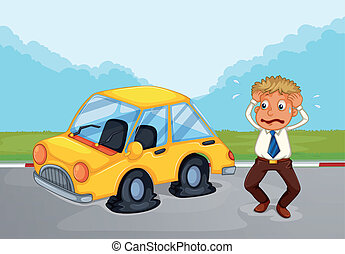 A sweaty man beside his car with flat tires - Illustration...