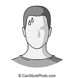 A sweaty man. The man is sweating from diabetes. Diabetes single icon in monochrome style vector symbol stock illustration.