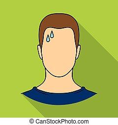 A sweaty man.The man is sweating from diabetes.Diabetes single icon in flat style vector symbol stock illustration.
