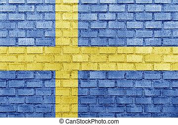 Sweden flag on a brick wall