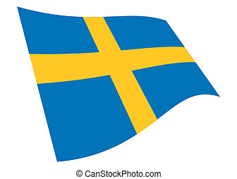 Sweden waving flag graphic isolated on white with clipping path 3d illustration