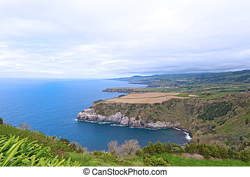 A sweeping view from one of scenic outlooks on Sao Miguel Island of Azores, Portugal.