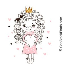 A sweet child hugs a big heart. Little princess in the crown, blank for greeting card, print, invitation, holiday. Hand drawing for a nursery. Vector illustration isolated on white.