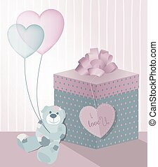 A sweet illustration for Valentine's Day with teddy bear, gift box and transparent balloons