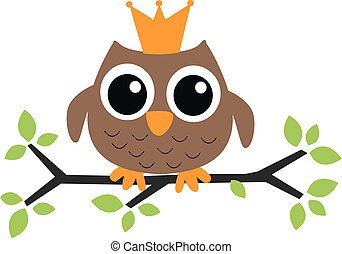 a sweet little owl with a crown