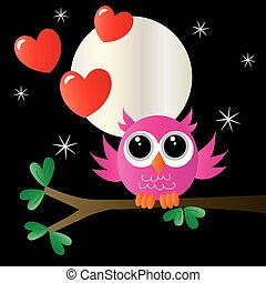 a sweet little pink owl sitting on a branch