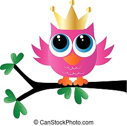 a sweet little pink owl with a golden crown