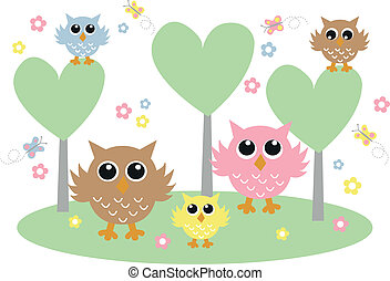 a sweet owl family