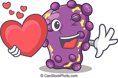 A sweet shigella cartoon character style with a heart. ...