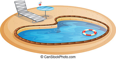 A swimming pool - Illustration of a swimming pool on a white...