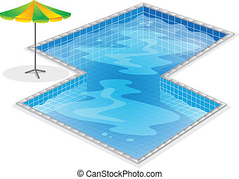 A swimming pool with a beach umbrella - Illustration of a...