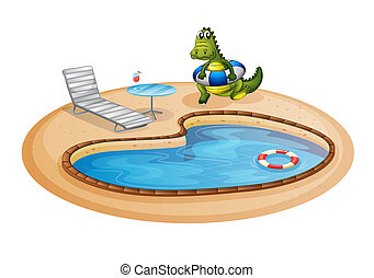 A swimming pool with a crocodile inside a buoy -...