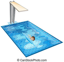 A swimming pool with a young boy