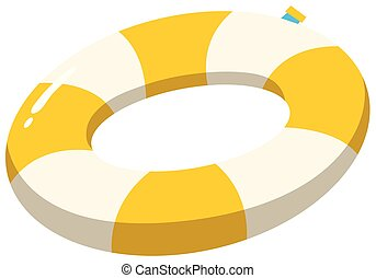 A Swimming Ring Yellow on White Background