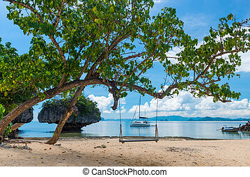 A swing on a tree on the beach of an uninhabited island in Thailand