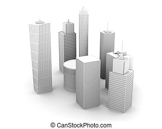 Skyscrapers - A symbolic city Illustration. 3D render....
