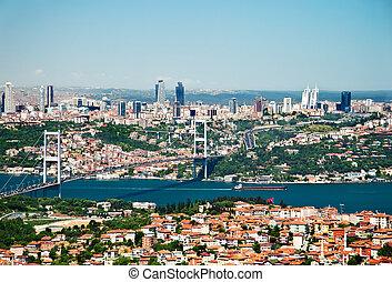 a, synhåll, från, camlica, kulle, mot, istanbul, och, den,...