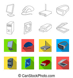 A system unit, a flash drive, a scanner and a SD card. Personal computer set collection icons in outline, flat style bitmap symbol stock illustration web.