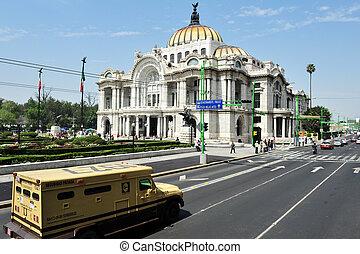 a, szépművészetek, palota, alatt, mexico város