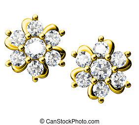 a, szépség, gyémánt, fülbevaló