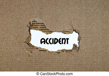 a, szó, baleset, feltűnik, mögött, szétszakít újság