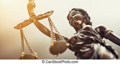 a, szobor, közül, igazságosság, jelkép, jogi, törvény, fogalom, kép
