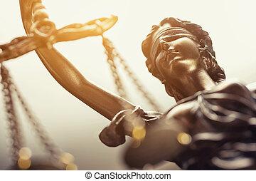a, szobor, közül, igazságosság, jogi, törvény, fogalom, kép