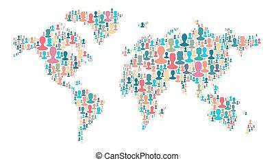 a, térkép, közül, világ, elkészített, közül, bőség, emberek, silhouettes., gyűjtés, közül, különböző, emberek, arcképek, elhelyezett, mint, világ térkép, alakzat., világ térkép, elkészített, ki, közül, nagy csoport emberek, körvonal