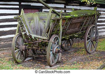 a, típico, histórico, madeira, carruagem