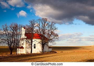 a, tönkretesz, kicsi, templom
